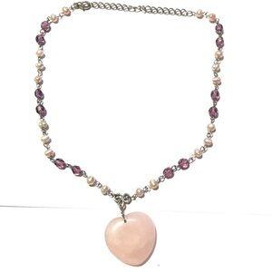 Pearl, Purple Glass & Rose Quartz Heart Necklace